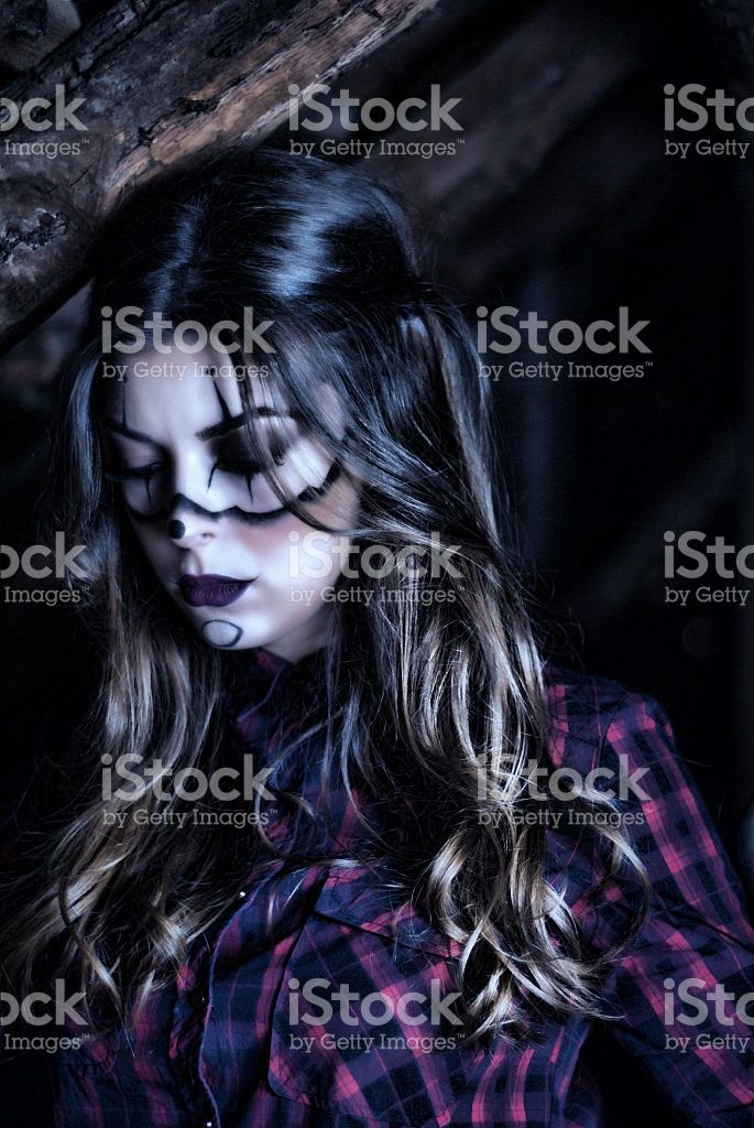 Girl with creative make up for the Halloween royalty-free stock photo