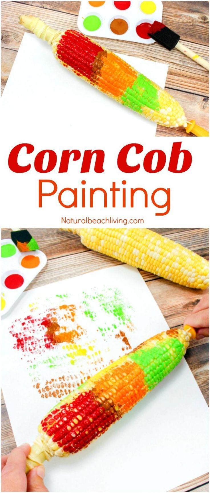 Easy Corn Cob Craft Painting for Kids - Corn Craft Ideas - Natural Beach Living #fallactivitiesforkids