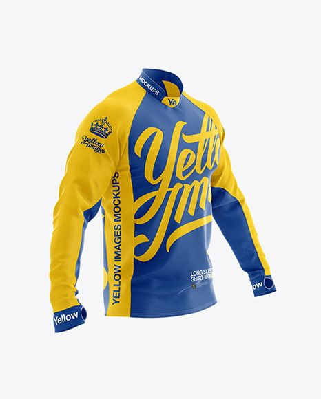 Long Sleeve Jersey Mockup Half Side View In Apparel Mockups On Yellow Images Object Mockups In 2021 Clothing Mockup Long Sleeve Jersey Shirt Mockup
