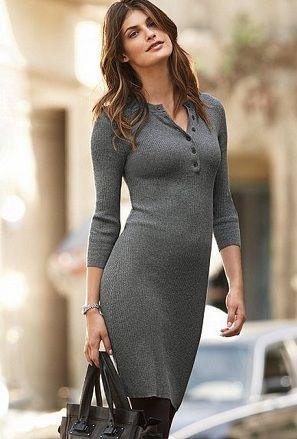 e2f123be51bc7 Örgü uzun kollu gri kısa kışlık bayan elbise modeli » Moda, Yeni ...
