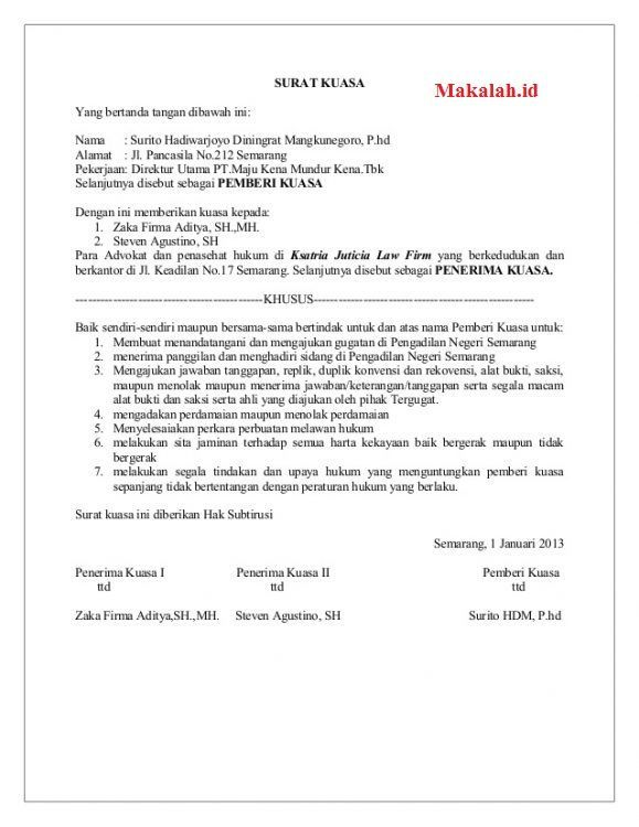 Contoh Surat Niaga Penawaran Harga Surat Surat Kuasa The Rules