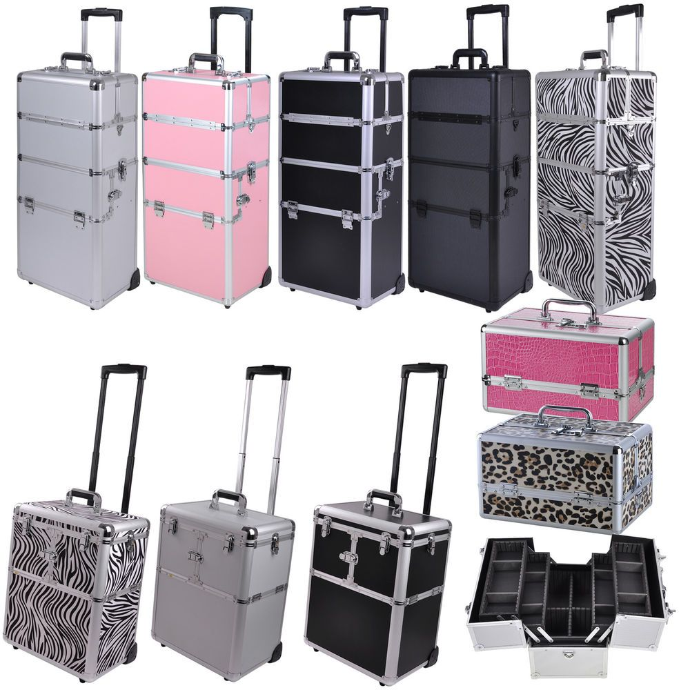 Pro Aluminum Rolling Makeup Train Case Salon Artist