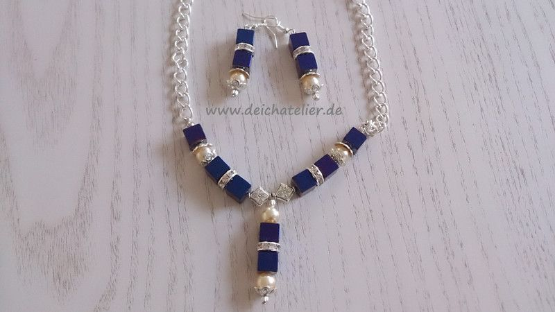 Festliches Schmuckset aus Edelsteinen und Perlen von Deichatelier auf DaWanda.com