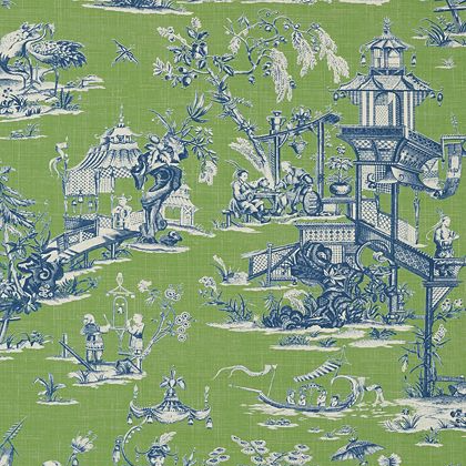 Thibaut Cheng Toile Wallpaper in Green and Blue Toile