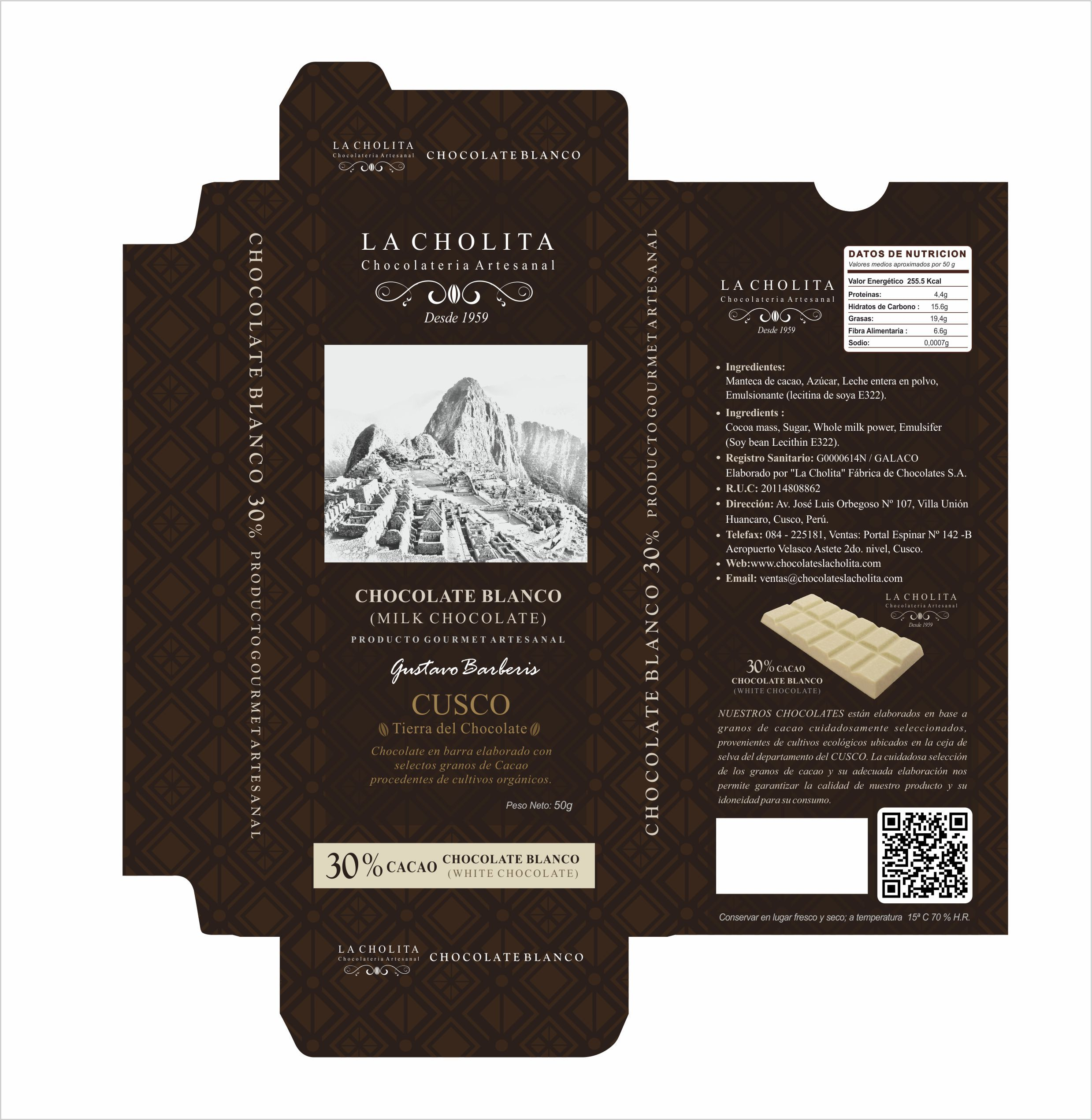 Diseño de Packing Chocolate Blanco en barra Cusco - Perú Desing by: Antonio Miranda Madrid