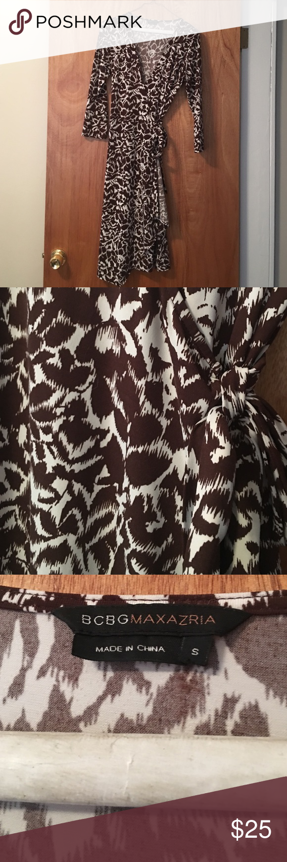 Printed BCBG wrap dress Brown and white flower printed wrap dress. 3/4 length sleeves. Length is 37 inches. Fabric is 94% polyester, 6% spandex. Excellent condition! BCBG Dresses