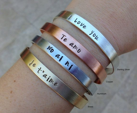 """100 Languages """"I Love You"""" Cuff With Free Personalization Up To Three Initials, Valentines, I love you jewelry, Anniversary, birthday"""
