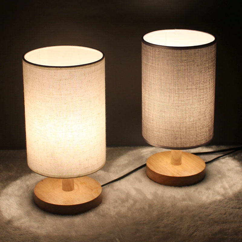 watch here free shipping modern minimalist wood bedroom table lamp bed room linen - Bedroom Table Lamps