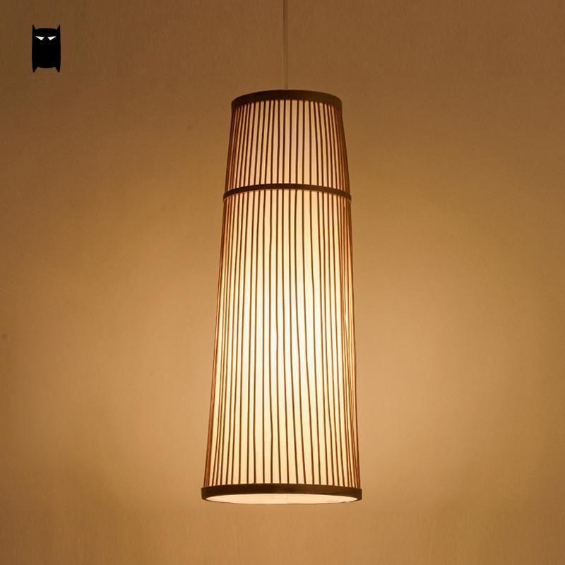 Long Bamboo Wicker Rattan Shade Pendant Light Fixture Ceiling Lamp Dining Room