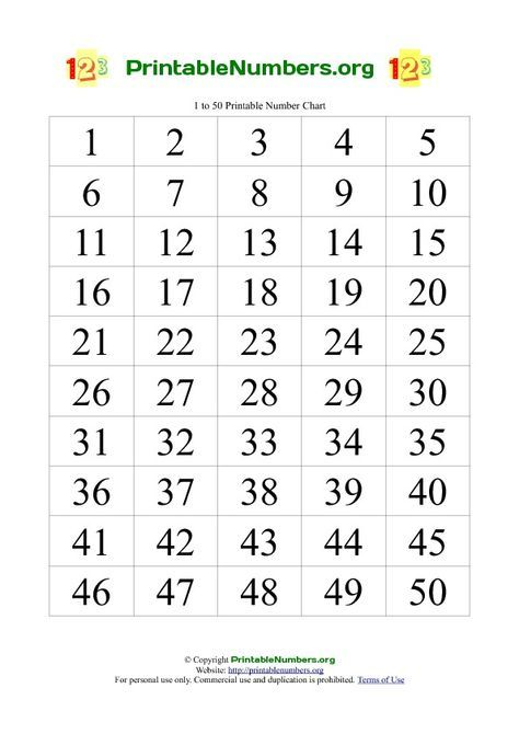 Printable Numbers Chart 1-50 | math | Pinterest