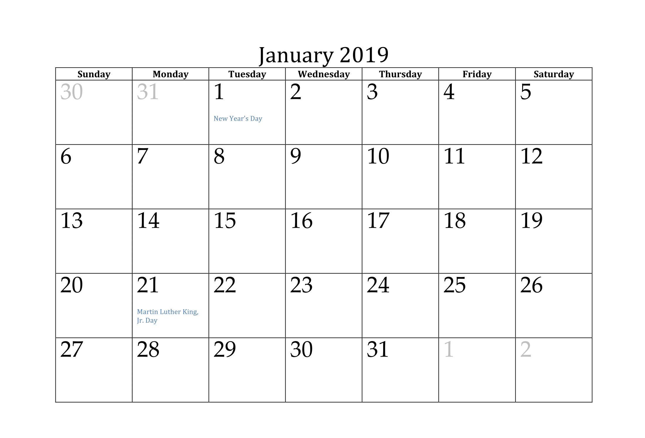Blank Academic Calendar January 2019 Calendar Calendar Template Custom Calendar
