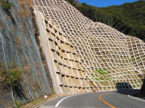 When The Japanese Want To Secure A Wall Against Mudslides They Use This Interesting Custom Concrete Arch Architecture Landscape Architecture Landscape Design