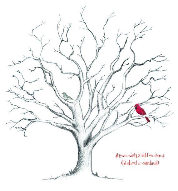 Small Fingerprint Live Oak Tree Wedding Guest Book Hand Drawn: Dog, Cat, Deer, Bird, Owl Or Animal For Hand