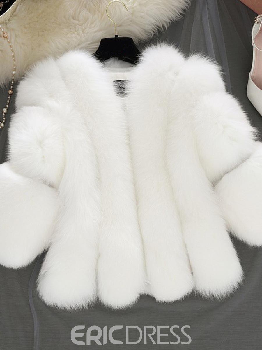 c8f8dedba7b Ericdress Loose Thick Faux Fur Coat