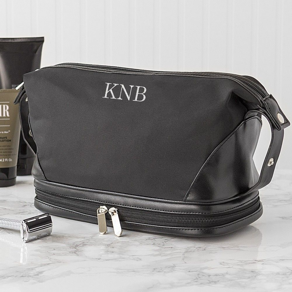Large black microfiber and faux leather men's toiletry bag