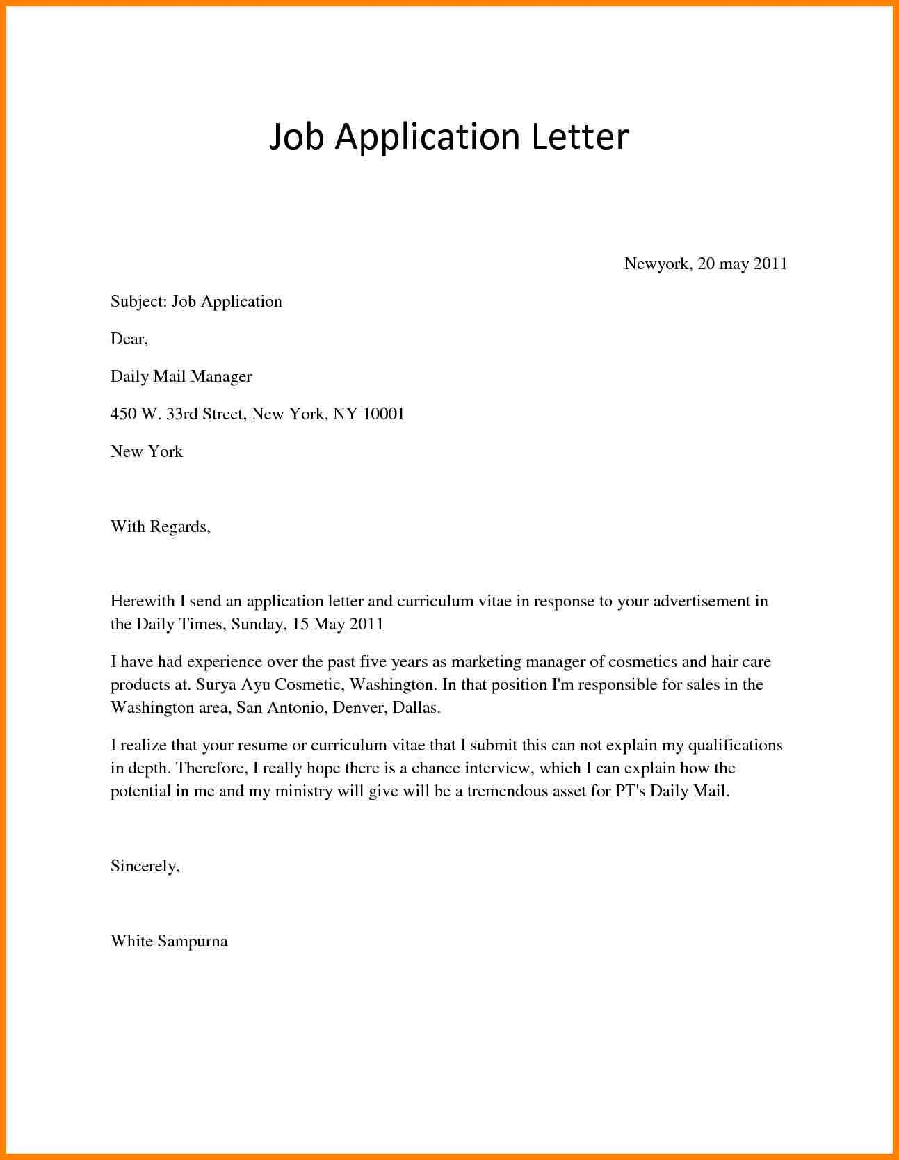 7 How To Write A Job Application Letter Pdf Farmer Resume