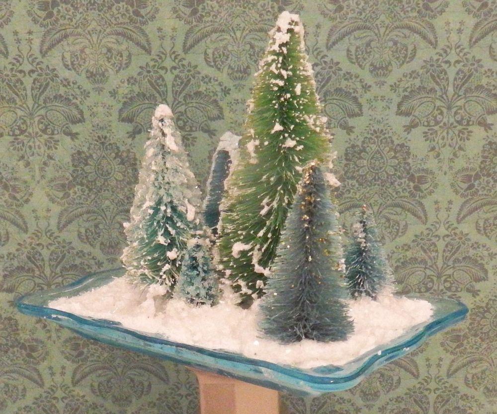 7 BlueGreen Bottle Brush Trees Winter Scene Village
