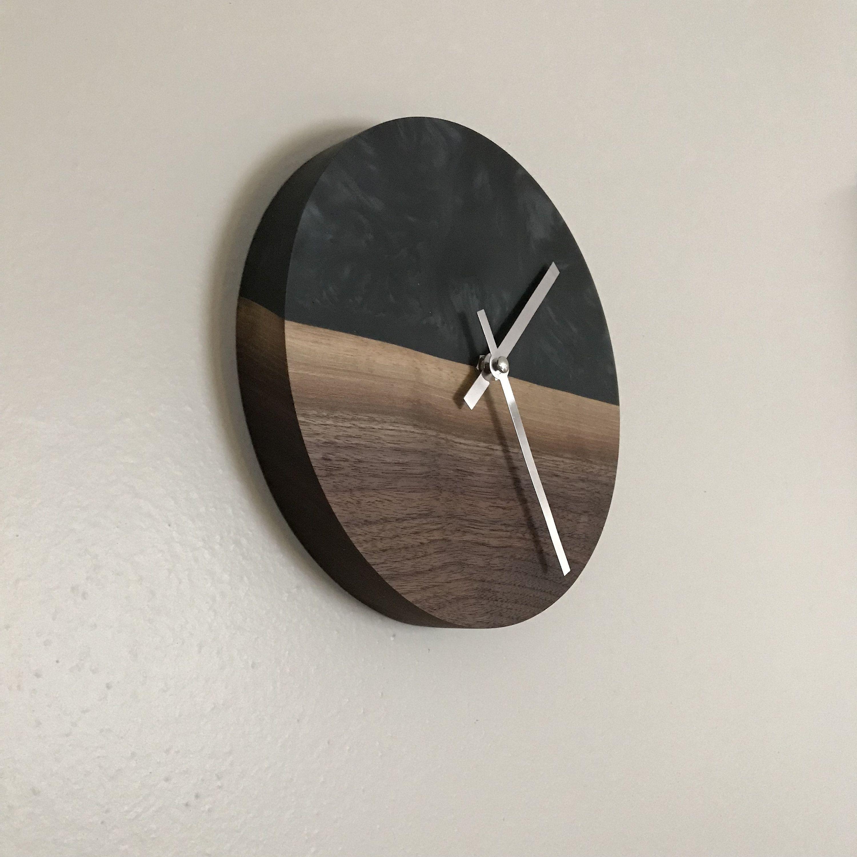 Walnut and Epoxy Resin Clock  housewares  homedecor  woodworking  carpentry   bedroom  clock  epoxy  decor  wood  home  design  walnut  etsy 5634d7b057