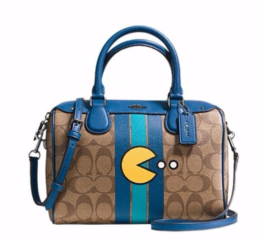 7ad5f0c7a43 NWT COACH PAC MAN *LIMITED EDITION* SIGNATURE SMALL SATCHEL ...
