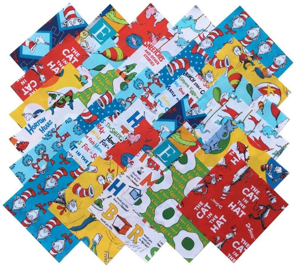 Robert Kaufman DR SEUSS FAVORITES RETURNS Precut 6.5-inch Cotton Fabric Quilting Squares Charm Pack Assortment » http://lnreviews.com/Robert-Kaufman-FAVORITES-6-5-inch-Assortment  Premium 1st quality 100% cotton fabric. Quilt shop exclusive designer fabric! Perfectly suited for use in quilting, sewing, patchwork, apparel, home decor, crafts and your ideas.