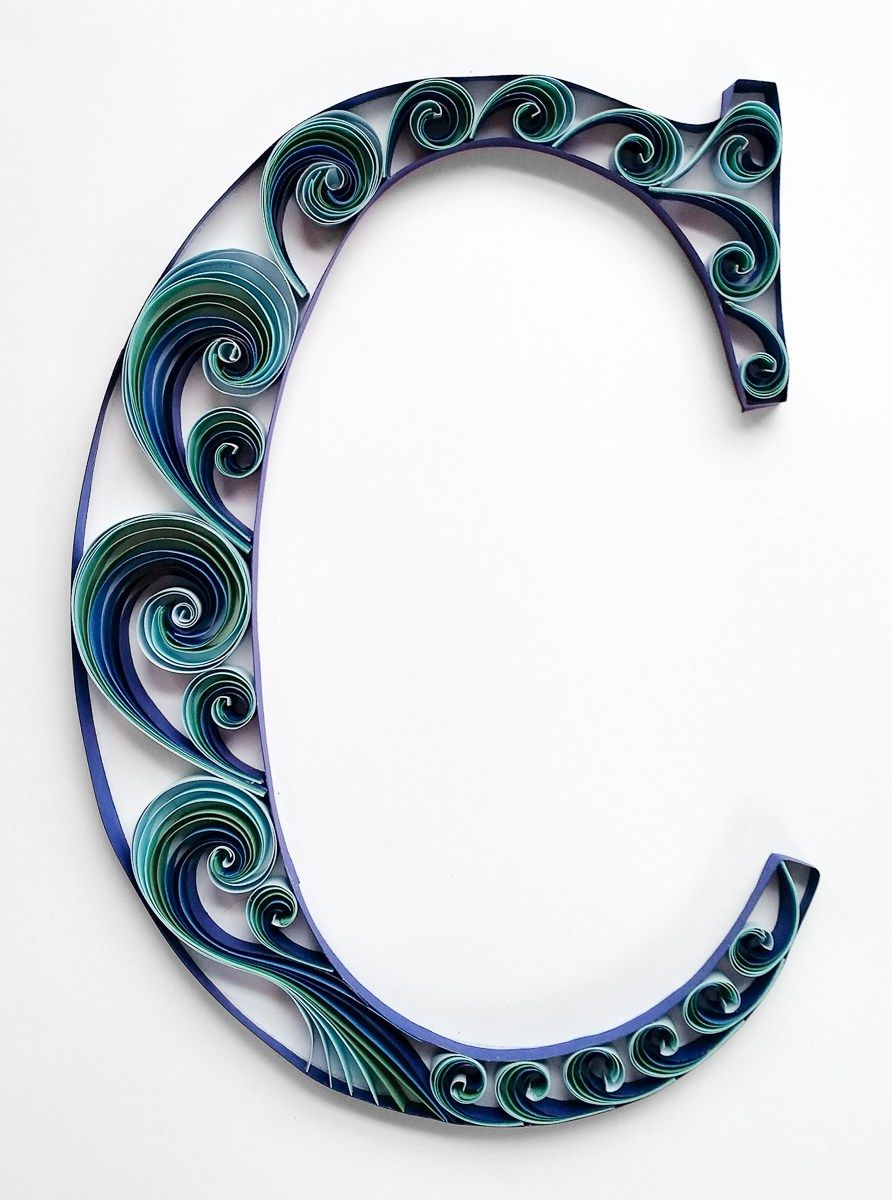 quilled letter c monogram blue waves quilling monogram waves letterc
