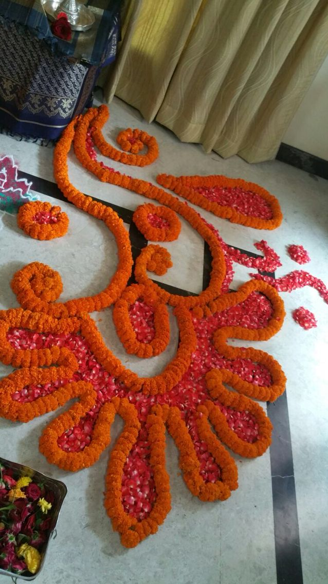 Image by Sindhu Nama on Rangoli Flower rangoli, Diwali
