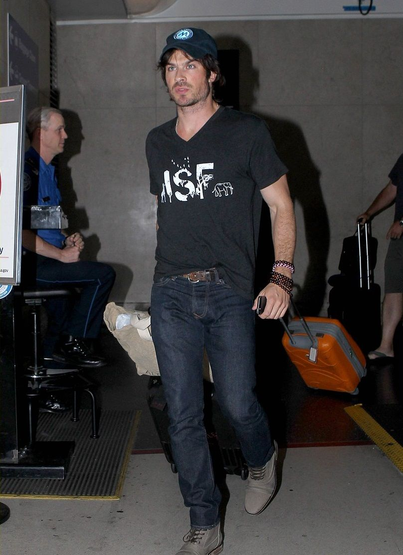 Ian Somerhalder supports his very own ISF Foundation while touching down at LAX Airport on Saturday night (July 12) in Los Angeles.