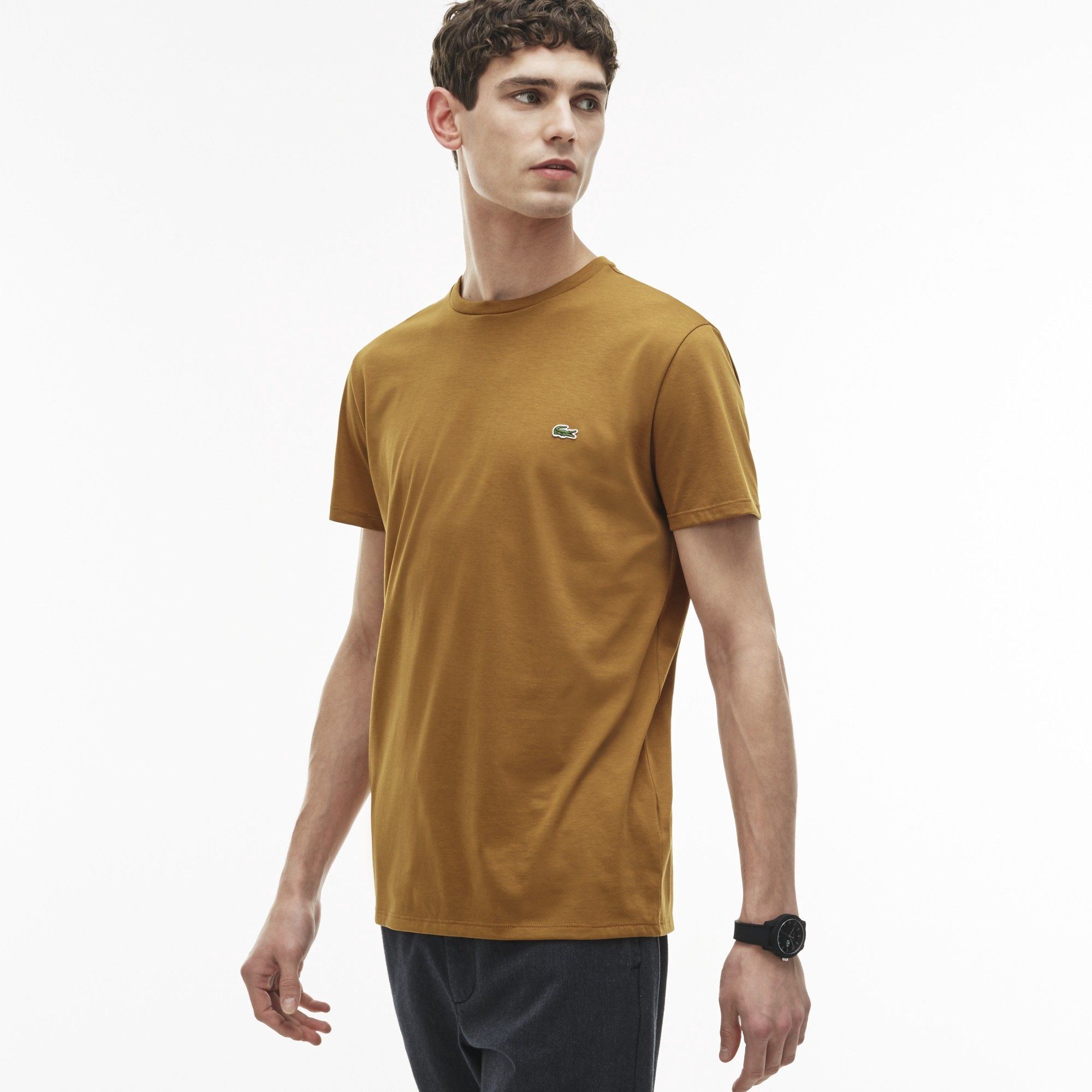 7c4b693f8e LACOSTE Men's Crew Neck Pima Cotton Jersey T-Shirt - renaissance brown. # lacoste #cloth #