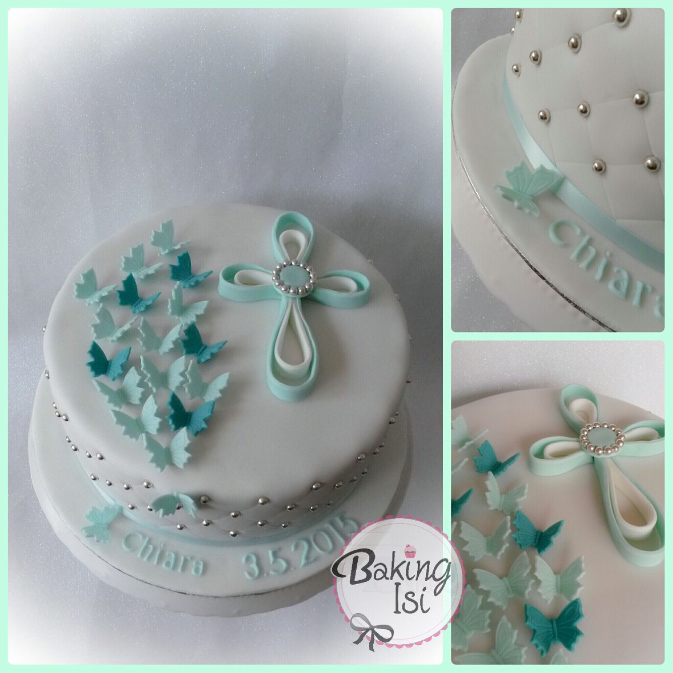 Communion cake with butterflies and quilling cross for Tortenideen