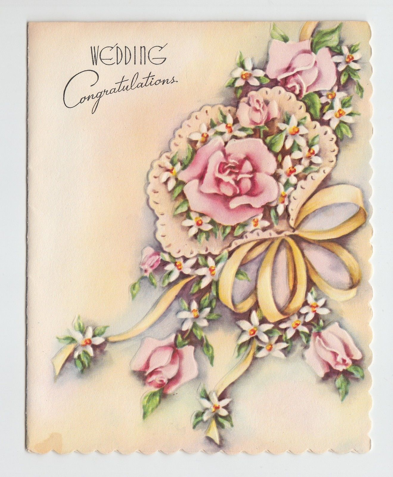 Vintage embossed bouquet bow wedding congratulations greeting card vintage embossed bouquet bow wedding congratulations greeting card ebay kristyandbryce Image collections