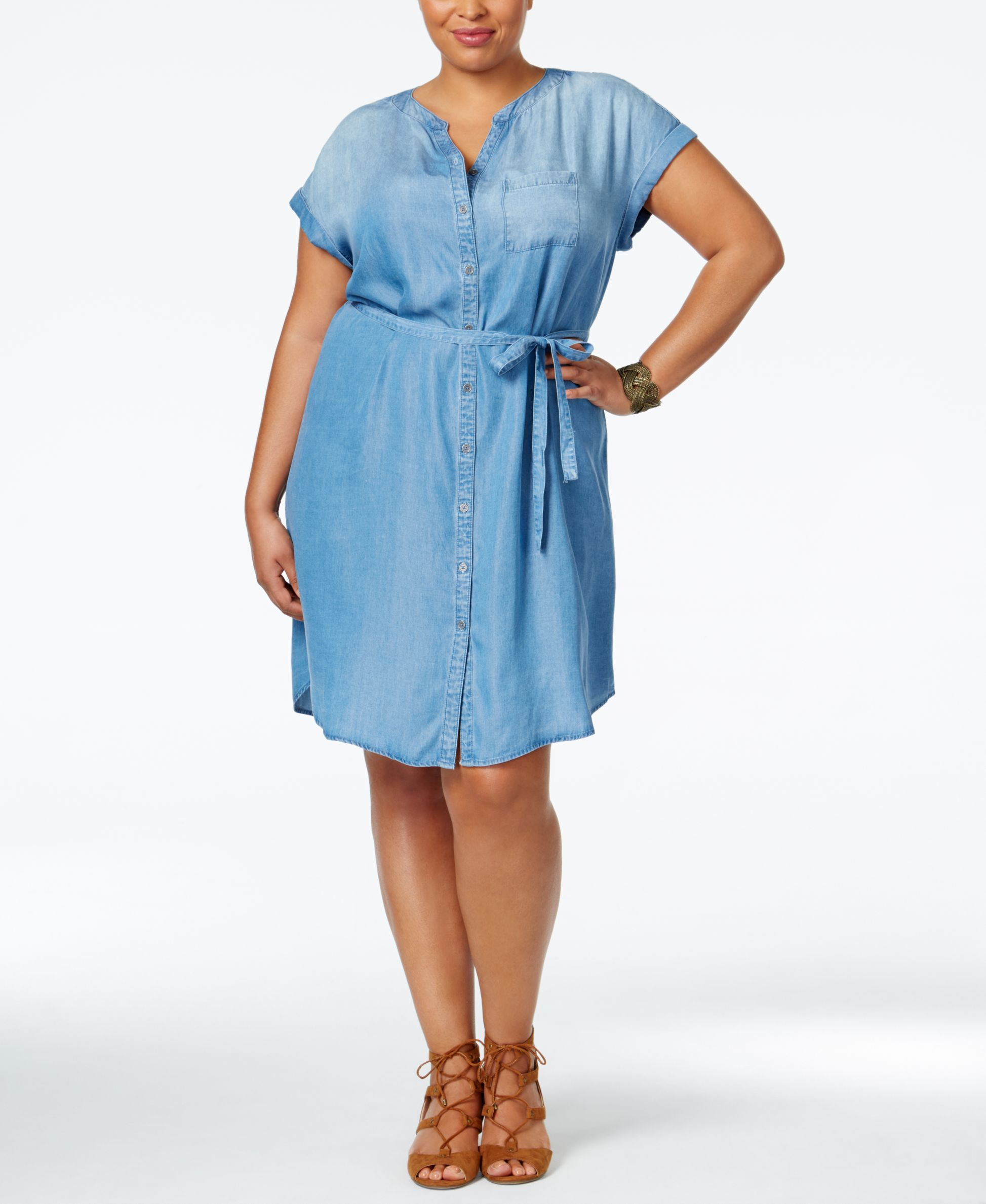 aa9601f18c Style   Co. Plus Size Belted Denim Tunic Dress