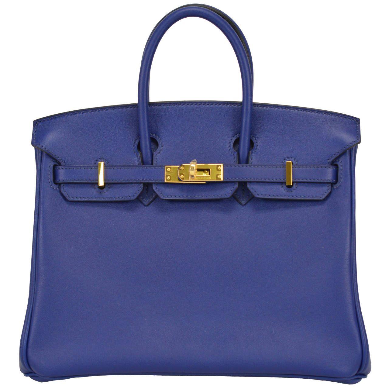 2014 HERMES Birkin Bag 25cm Blue Gold Hardware  2f762b2c7305f