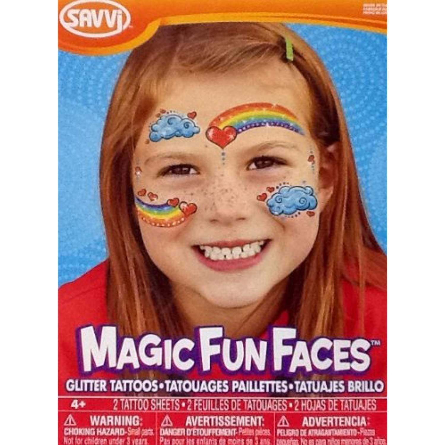 Temporary Tattoos Glitter Rainbow Face Magic Fun Faces