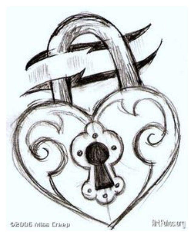 Heart Lock & Key Drawing on We Heart It