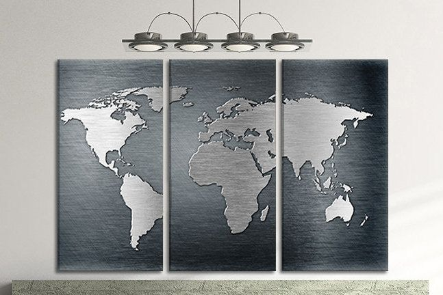 Silver world map large world canvas map travel map personalized silver world map large world canvas map travel map personalized world poster personalized world map wall gumiabroncs Gallery