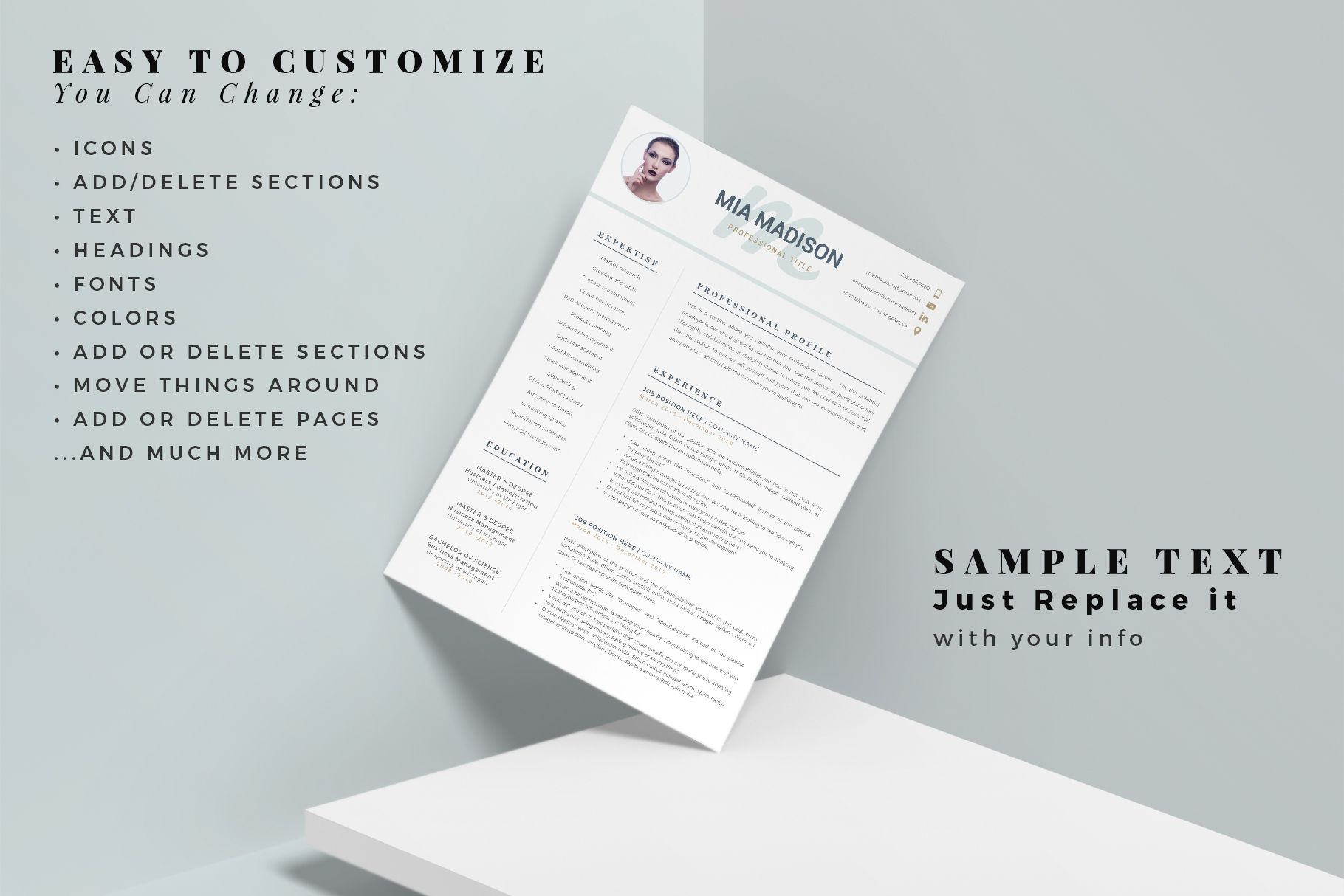 R48 MIA MADISON Clean Resume Template Creative