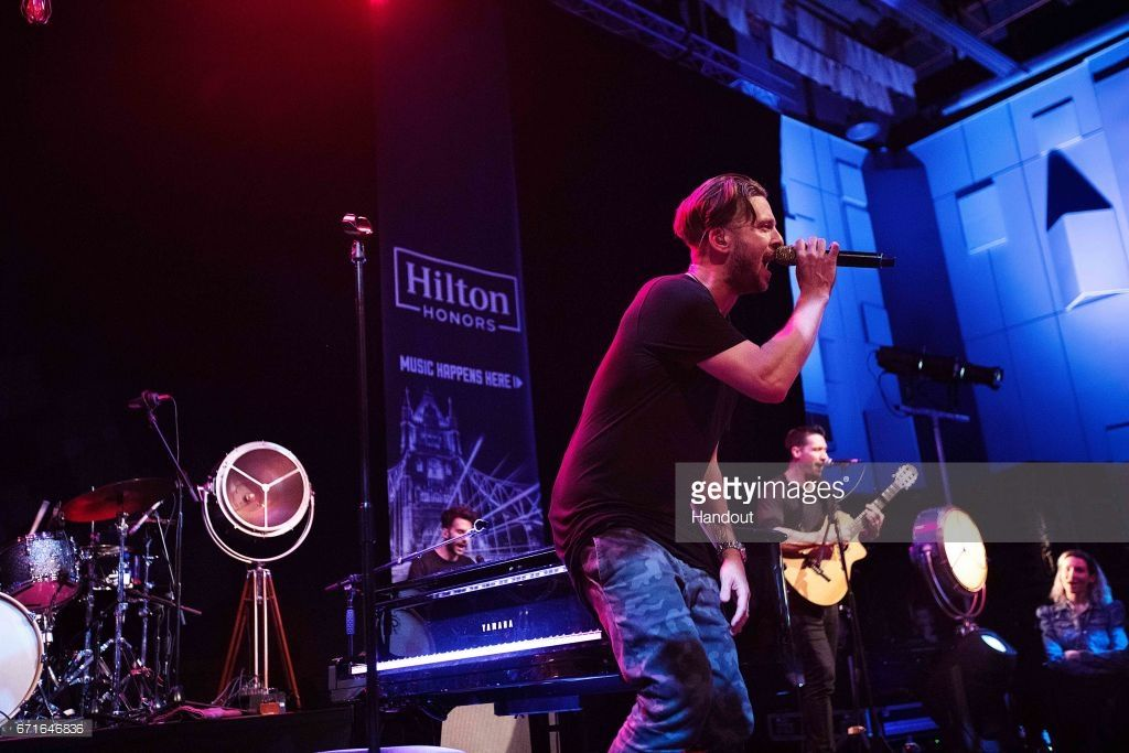 In this handout photo provided by Hilton Honors in partnership with Live Nation, Musician Ryan Tedder of OneRepublic performs onstage at Abbey Road Studios to celebrate travel through the Hilton Honors' program Music Happens Here, exclusively for Honors members at Abbey Road Studios on April 22, 2017 in London, England. (Photo by Handout/Getty Images via Brian Nevins/Live Nation)