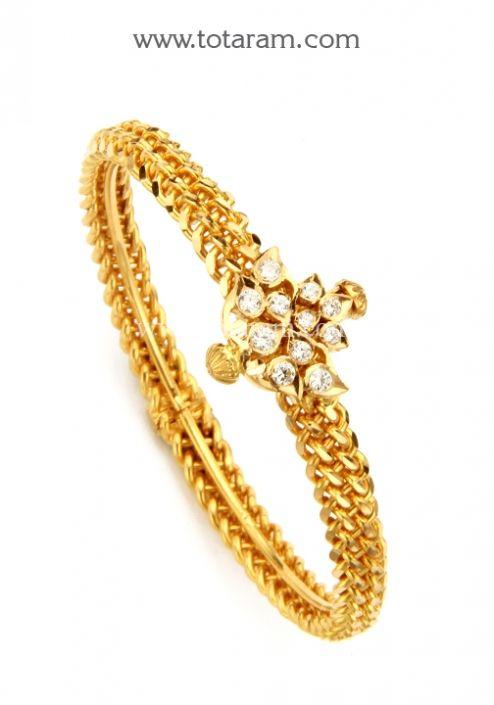 22K Gold Kada with Cz Single Piece Totaram Jewelers Buy Indian