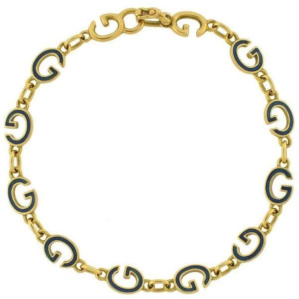 c1904e18c64 Preowned Gucci Vintage Enameled  g  Link Gold Bracelet (5.295 BRL) ❤ liked