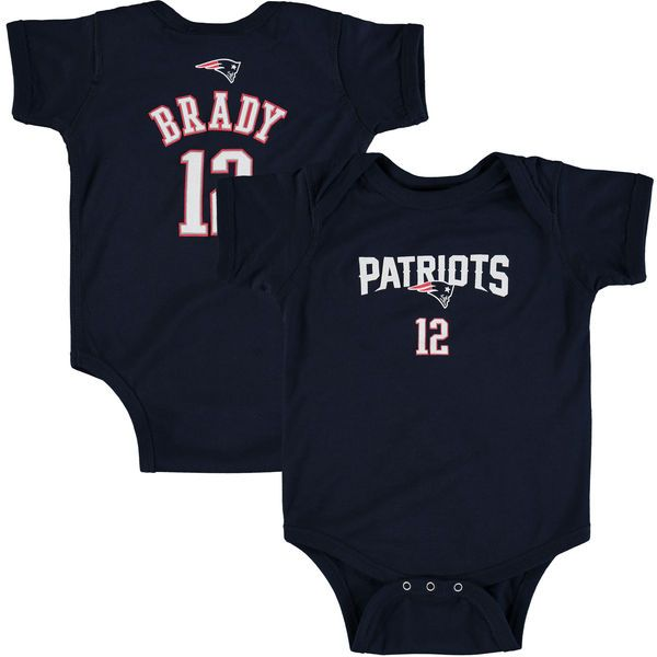 0b574be72 Newborn New England Patriots Tom Brady Navy Mainliner Name & Number Bodysuit