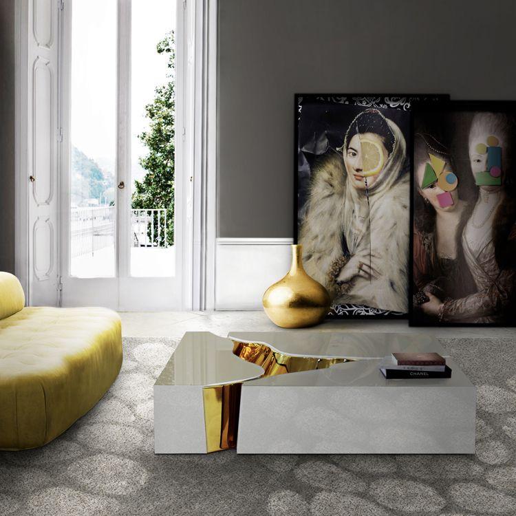 Moderner rechteckiger Couchtisch in weiß und Messing #Wohnidee - wohnideen wohnzimmer braun weis