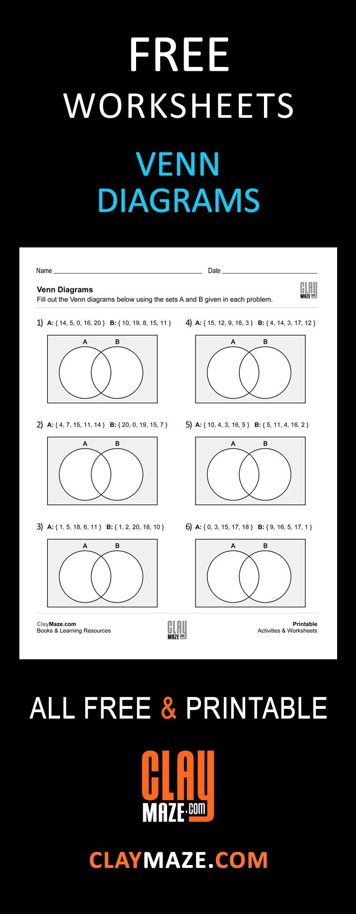 Free, printable Venn Diagrams worksheet - These are good for ...
