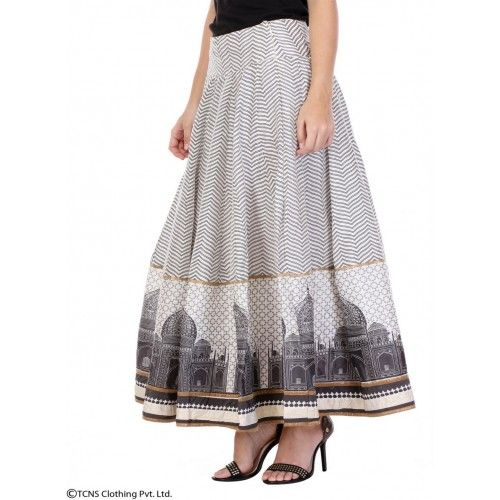 Deals and Offers on Women Clothing - White Printed Skirt at 40% offer