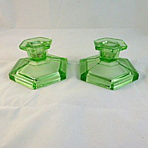 Green Depression Glass, Pressed Glass Candleholders. Please click on the image for more information.