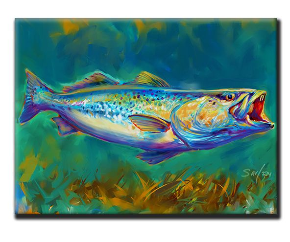 Speckled Trout Tile Art Spotted Trout Fish Art Fish Artwork Fly Fishing Art