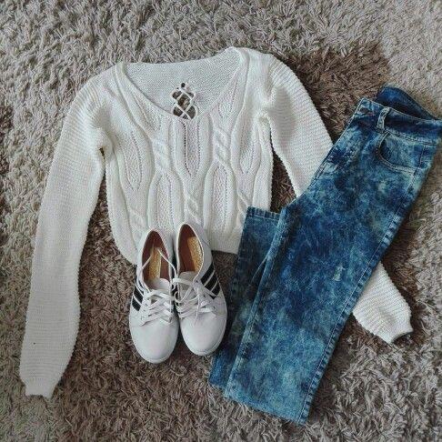 Outfit Chompa Tejida Jeans Moteado Zapatillas Slip On Outlook Fashion Outfits Sleeve Top