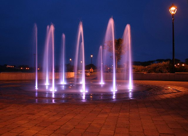 Ballycastle Water Fountain At Night Love This Love To Have This Wow Looks Cool Wish I Had A Pl Garden Fountains Fountains Outdoor Play Spaces