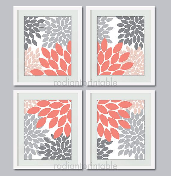 Floral in Coral Dusty Pink Silver Heather - Wall art, Home Decor ...
