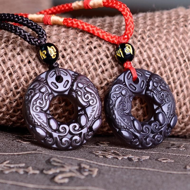 Natural Ice Obsidian Stone Pendant; Chinese Carving With Black And Red Chain; | $26.88   #purplerelic #ObsidianPendant #MenJewelry #WomenJewelry #MenAccessories #WomenAccessories #accessories