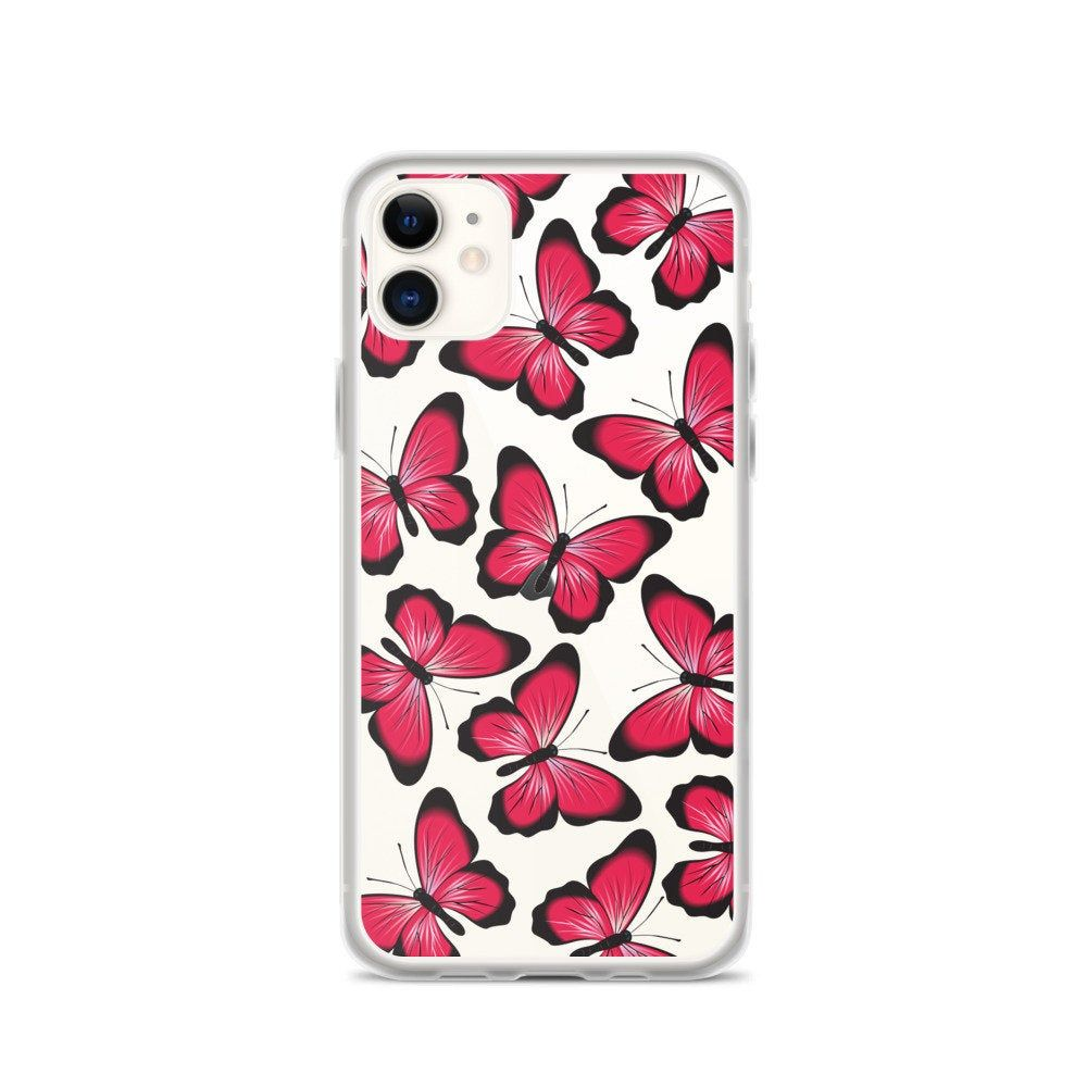 Clear pink butterfly iphone cases iphone 12 case iphone 12